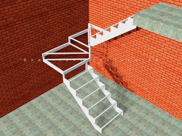 Каркас лестницы для дома на второй этаж Закрытого типа с 4 забежными ступенями . Заказать лестницу Закрытого типа с Забежными ступенями в Москве и области на сайте либо по телефону +7 (985) 517-77-07