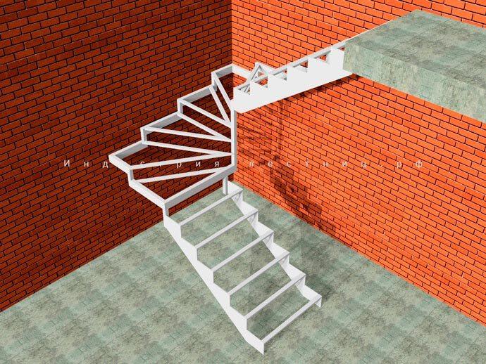 Каркас лестницы для дома на второй этаж Закрытого типа с 6 забежными ступенями . Заказать лестницу Закрытого типа с Забежными ступенями в Москве и области на сайте либо по телефону +7 (985) 517-77-07