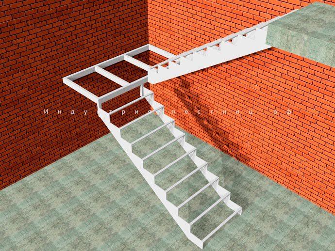 Каркас лестницы для дома на второй этаж Закрытого типа с одной площадкой. Заказать лестницу Закрытого типа с лошадкой в Москве и области на сайте либо по телефону +7 (985) 517-77-07